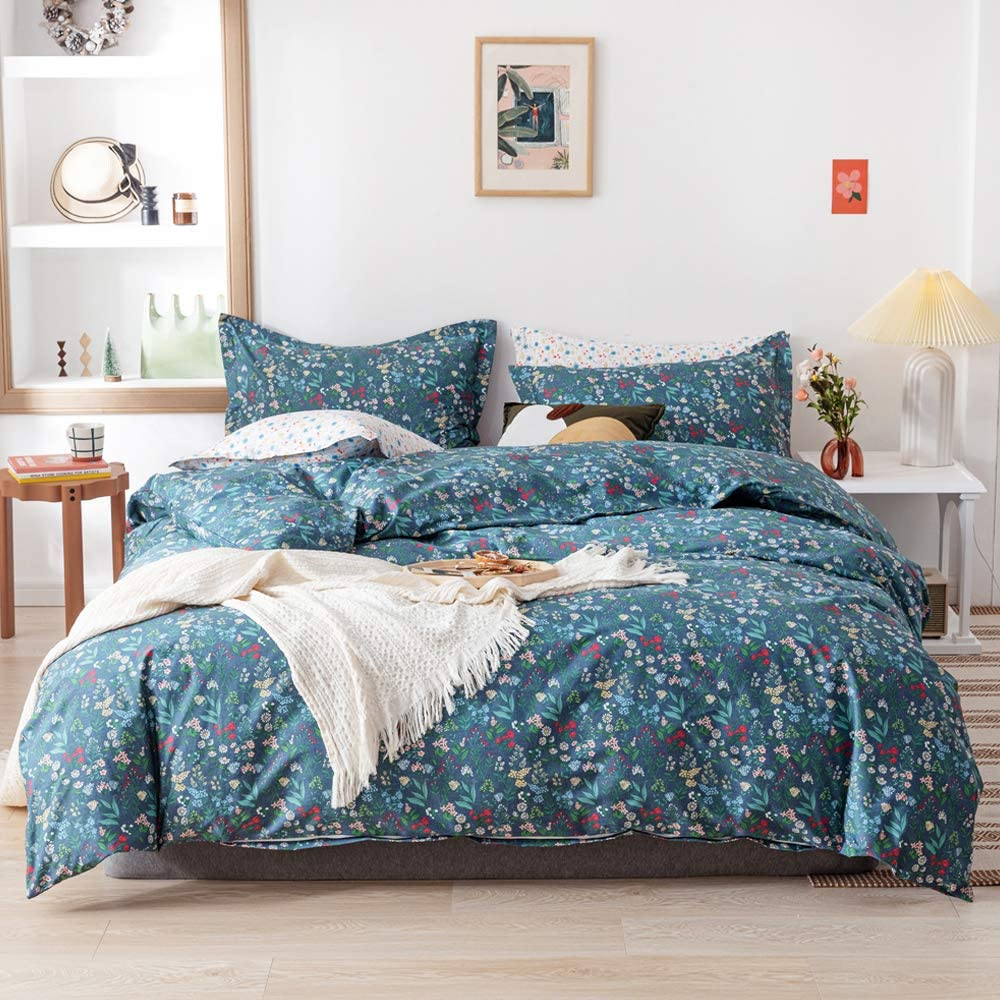EAVD Botanical Duvet Cover Queen Soft 100% Cotton Bedding Duvet Cover with 2 Pillowcases Reversible Garden Red Floral Green Leaves Pattern Duvet Cover with Zipper Closure 4 Corner Ties