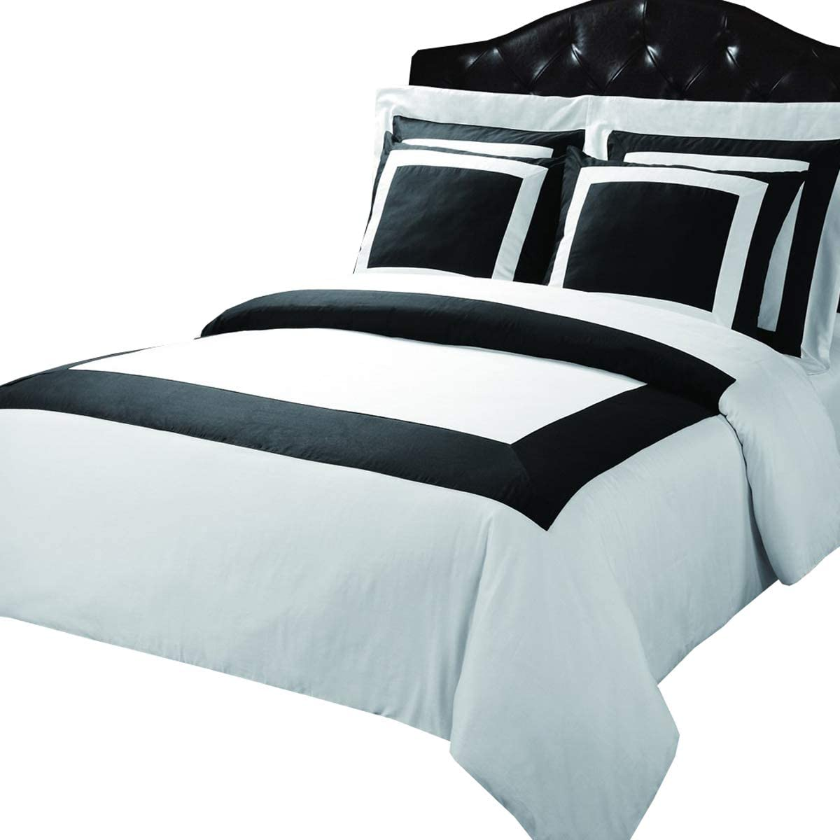 Luxury 3-PC Black with White 300 Thread Count Twin/Twin XL Duvet Cover Set 100 % Cotton comforter cover set with matching pillow shams By sheetsnthings …