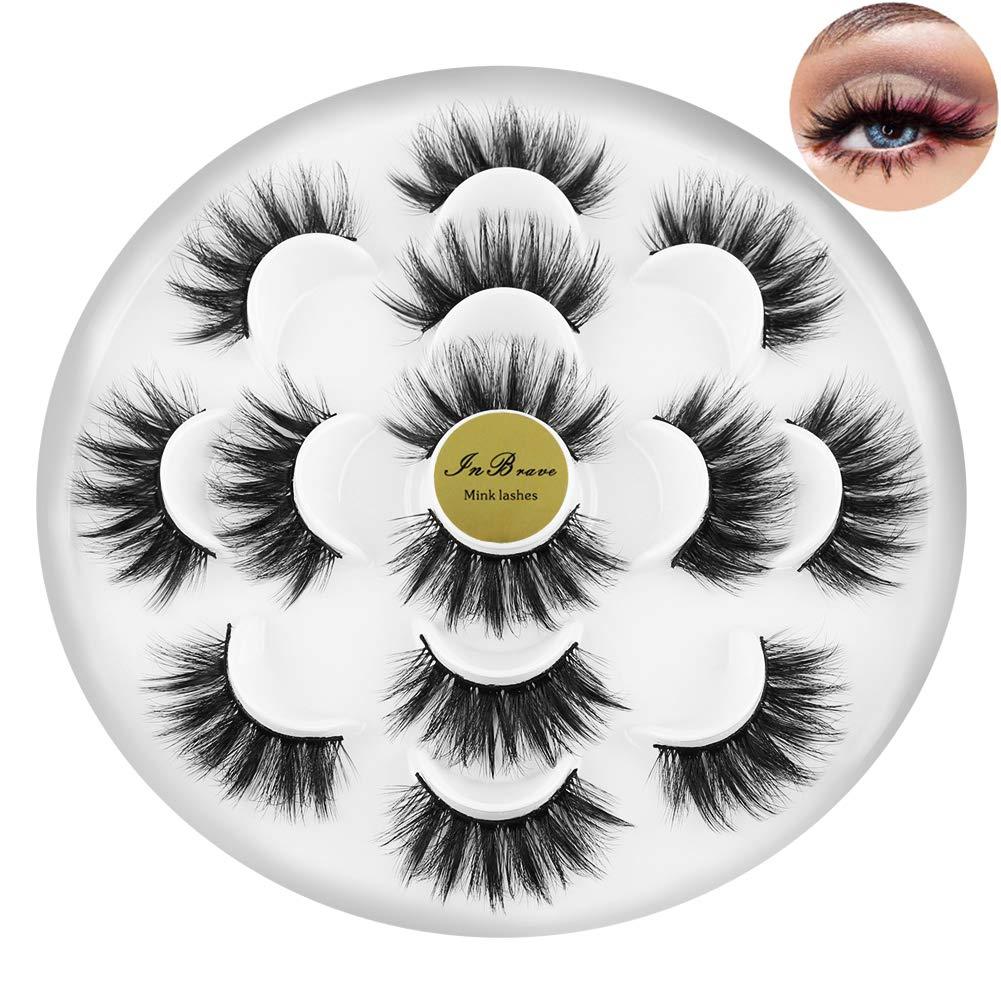 InBrave 20mm Mink Lashes Long Dramatic False Eyelashes Soft Wispy 6D Full Fake Lashes for Women Bold Makeup 7 Pairs