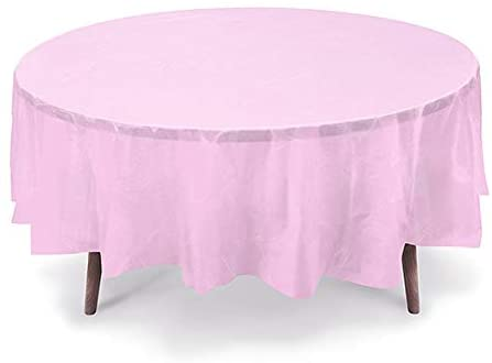 GiftExpressions 6-Pack Party Disposal Premium Plastic Tablecloth 84 Inch. Round Table Cover (Light Pink, 6 Pack Round 84 Inch.)