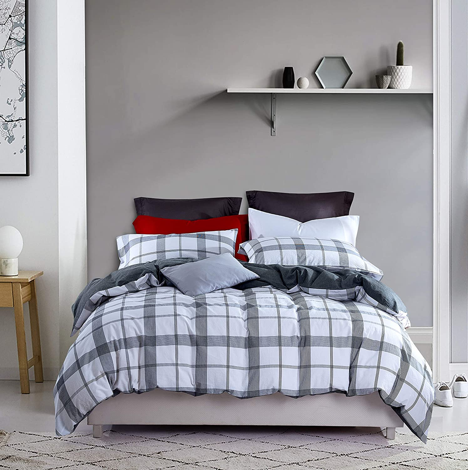 MengBoo Buffalo 3 Pieces Duvet Cover Set Washed Cotton Geo Black Grey and White Checked Zipper Closure and Corner Ties (Black Grey White, King)