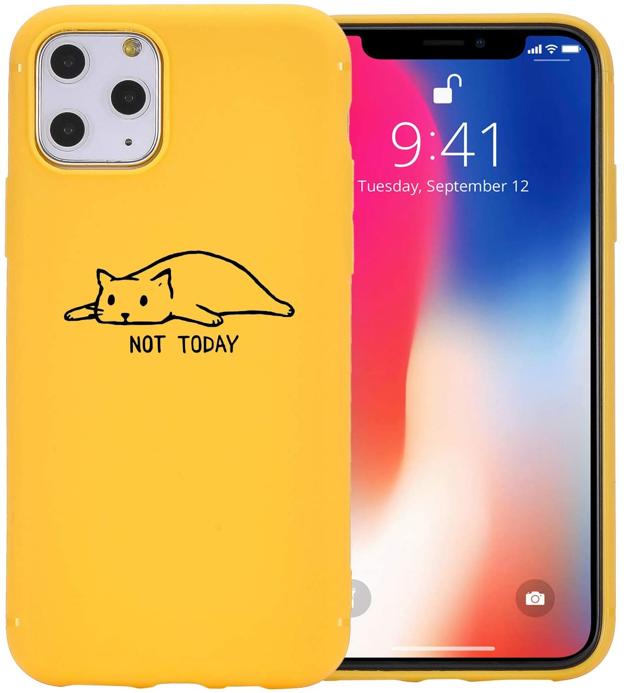 JOYLAND Yellow Cute Phone Case Cover for iPhone SE 2020/iPhone 7/iPhone 8 Lovely Funny Cat Not Today Cartoon Phone Case Cover Silica Gel Bumper Yellow Shell for iPhone 7/iPhone 8/iPhone SE 2020