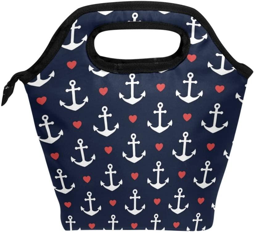 JOYPRINT Lunch Box Bag, Sea Nautical Anchor Insulated Cooler Ice Lunchbox Tote Bag Handbag for Men Women Adult Boys Girls Kids