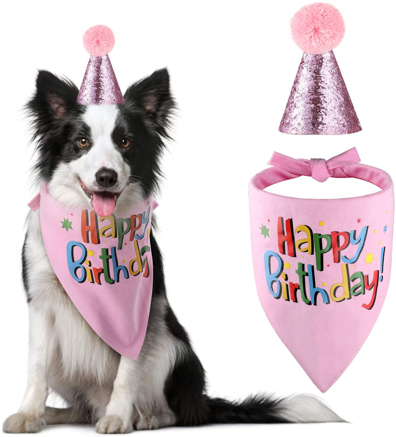 Blaoicni Dog Birthday Bandana Hat Scarf Party Supplies