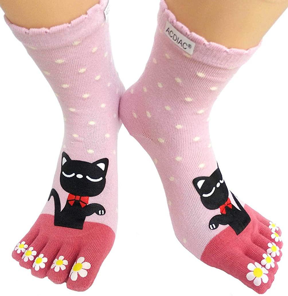 Women's Cotton Toe Socks,five Finger Socks,Funny and Funky cartoon theme sport Toe Socks