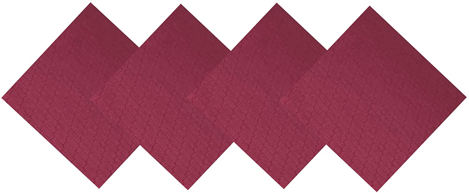 Lintex Chelton Beehive Weave by Chef Central Stain Resistant and Water Repellent Fabric Napkins – Easy Care Indoor and Outdoor Napkins, 4 Pack Napkin Set, Merlot