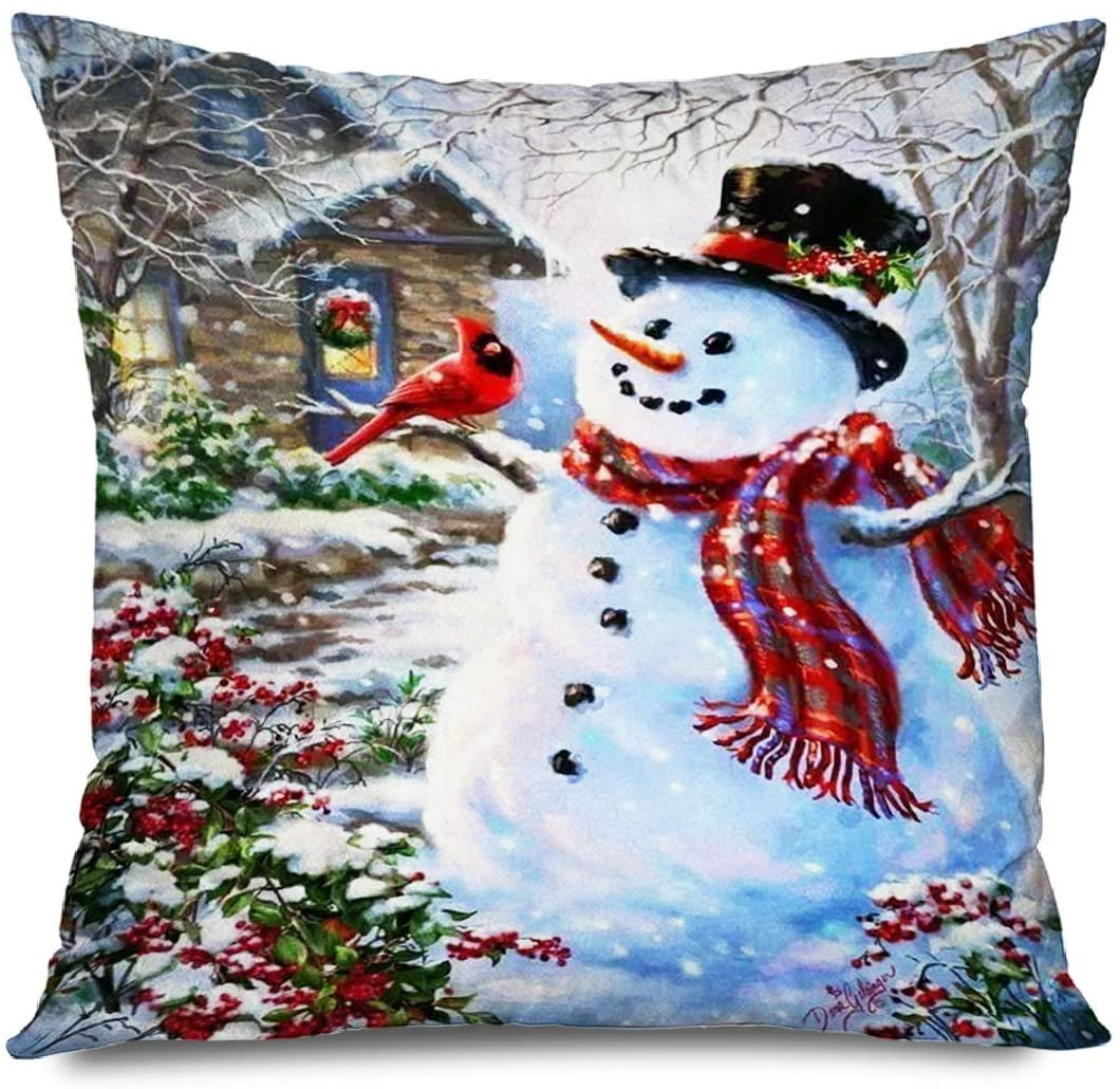 FAREYY Holiday Pillowcase Christmas Red Cardinal Winter Snowman Wood House Decorative Throw Pillows Cushion Cover for Bedroom Sofa Living Room 18 x 18 Inches