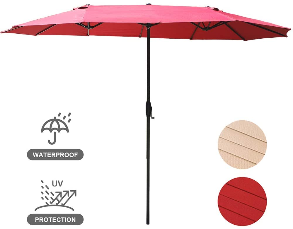 USspous 15 Ft Patio Umbrella Double-Sided Large Market Outdoor Umbrella with Crank and 12 Sturdy Steel Ribs Backyard Parasol - Red Color