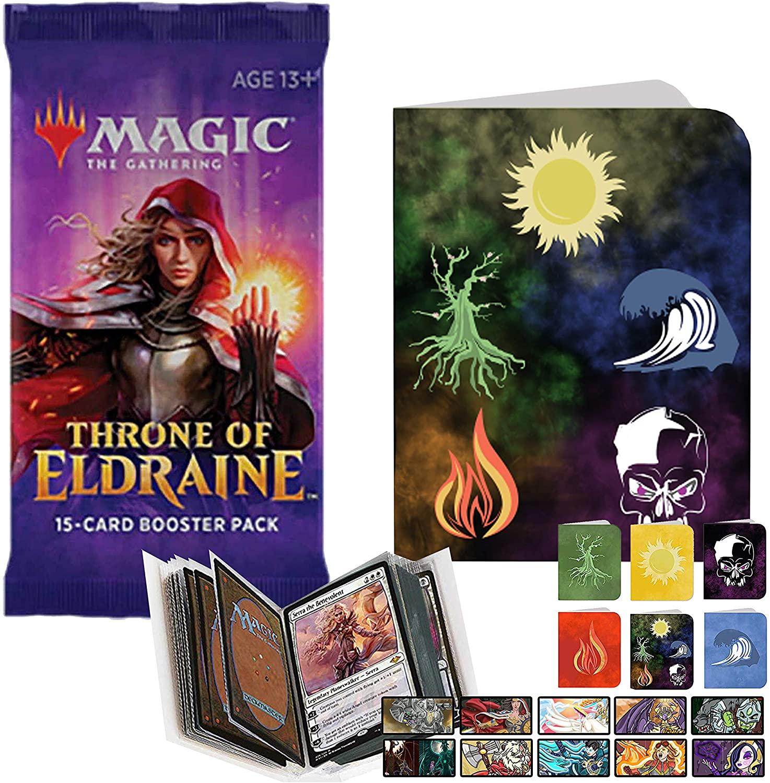 Totem World 1 Throne of Eldraine Booster Pack Magic The Gathering with a Totem Collectors Binder Album Portfolio - MTG ELD Bundle Set