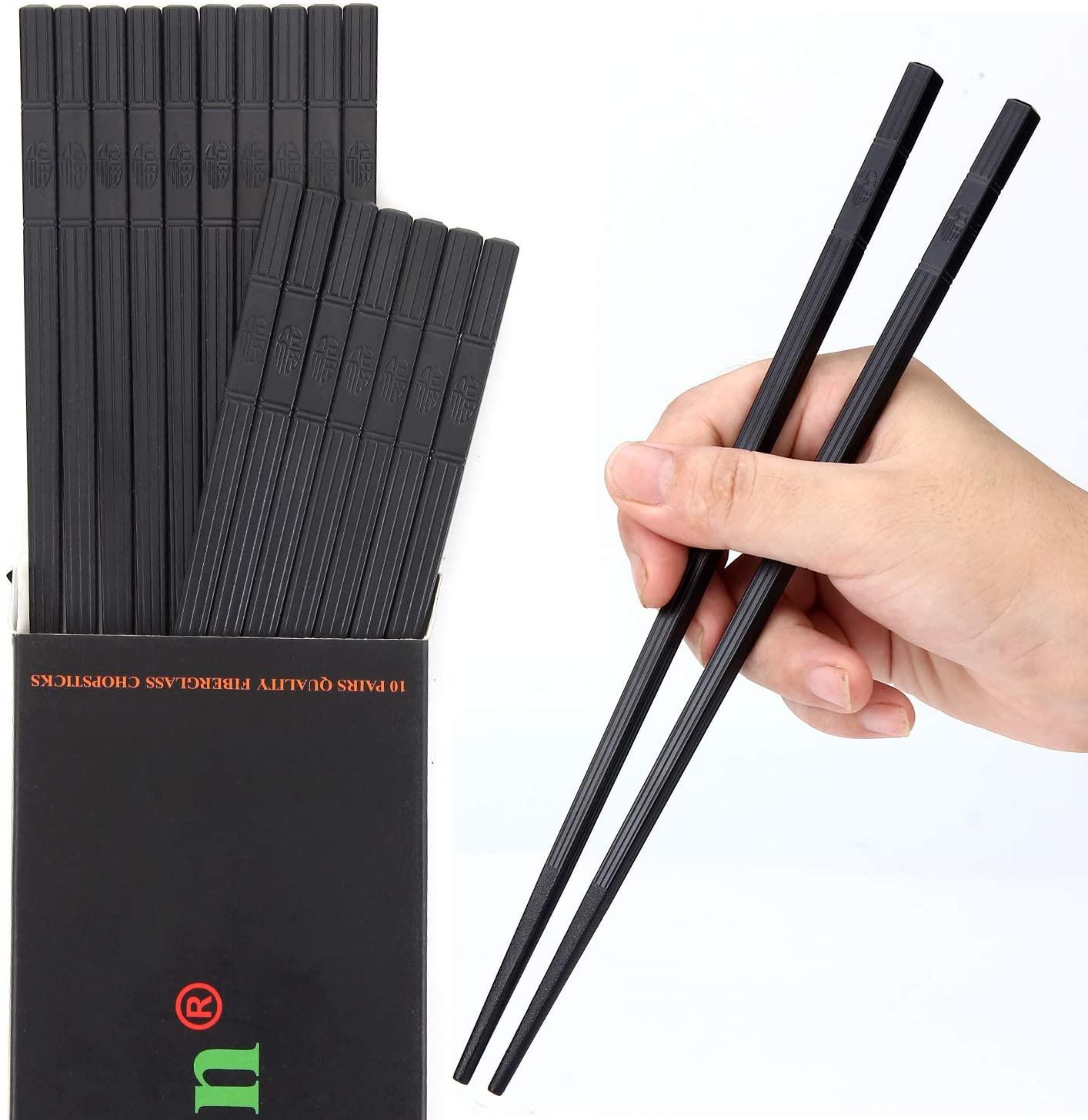 HuaLan Fiberglass Reusable Chopsticks Set Dishwasher-Safe Household/Restaurant/Sushi Chopsticks 10 Pairs