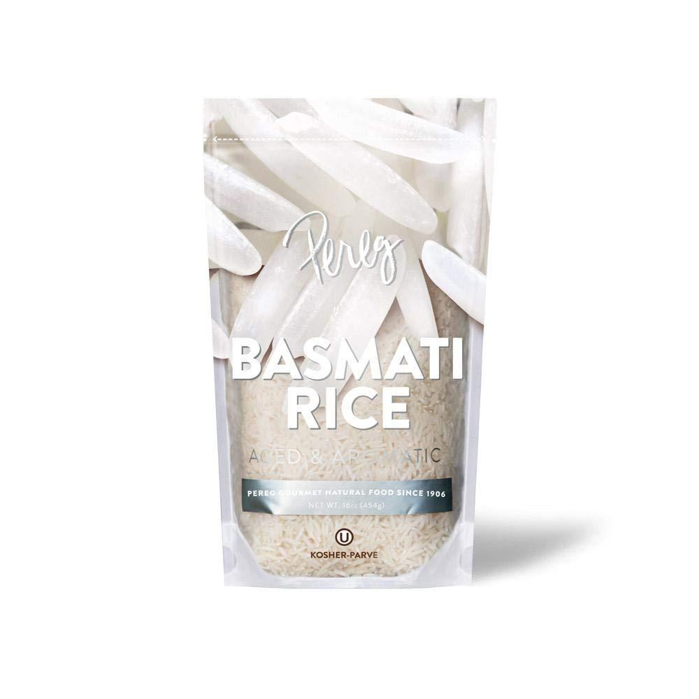 Pereg White Basmati Rice (16 oz) - Extra Long, Naturally Aged & Aromatic Grainl, Gluten Free, Non-GMO & Vegan - Soft, Fluffy & Cooks Quickly
