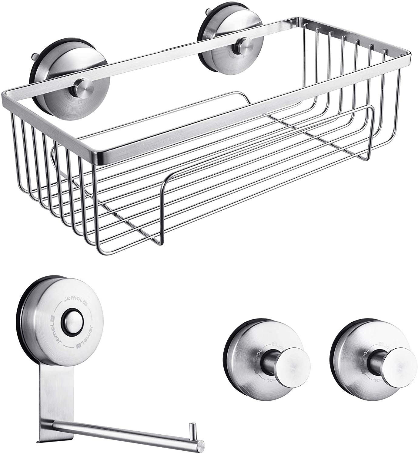 JOMOLA Suction Cup Organizer Bathroom Accessory Set with Stainless Steel Shower Caddy, Toilet Paper Holder, 2 x Towel Hooks for Kitchen Storage Hanger (4 Pack)