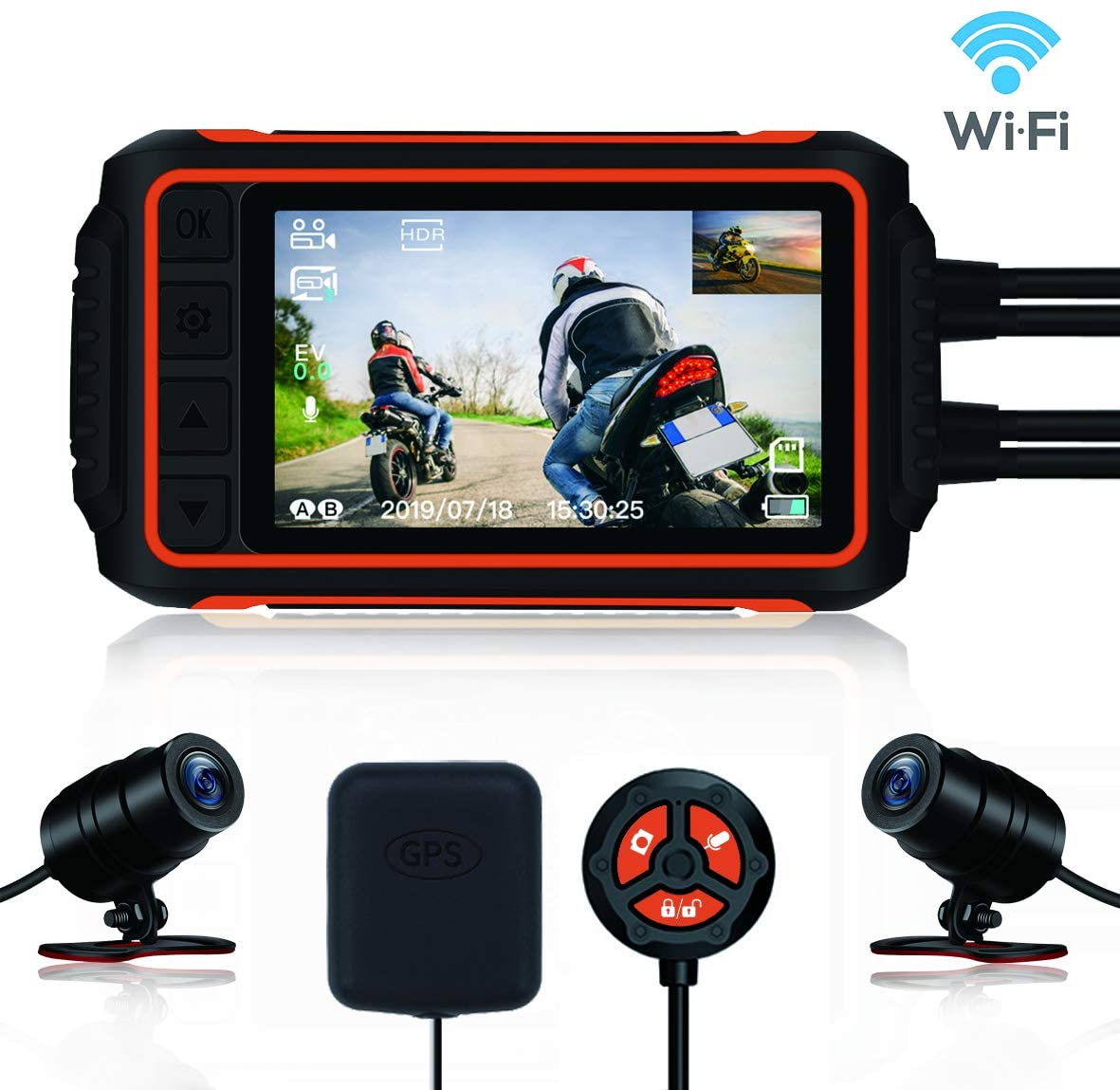 Motorcycle Dash Cam, Anti-Shake Waterproof Camera, 1080P Dual Lens, with GPS WiFi 150° Wide Angle Night Vision Recording