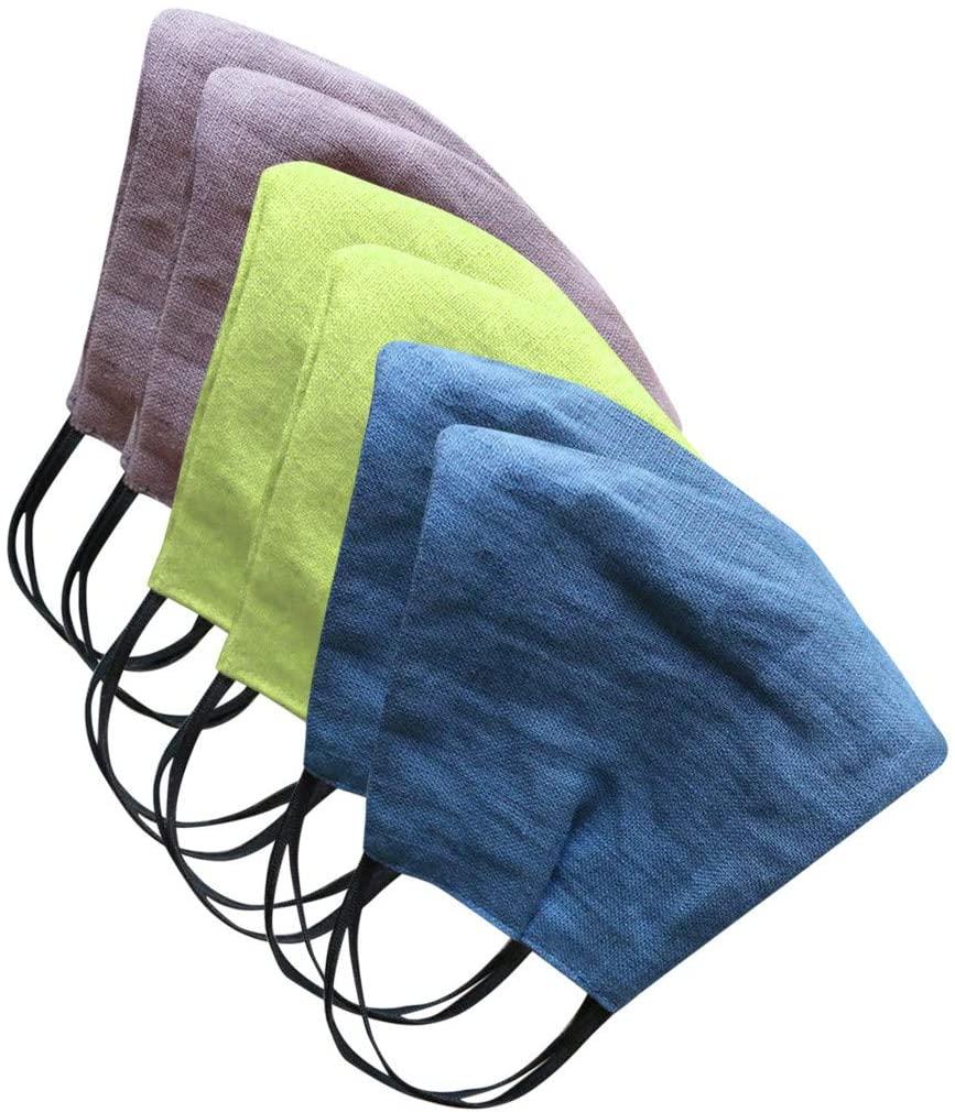 6PCs Solid Color Unisex Cotton Linen Adult Dustproof Windproof Foggy Haze Breathable Face Bandanas with Elastic Ear Loops