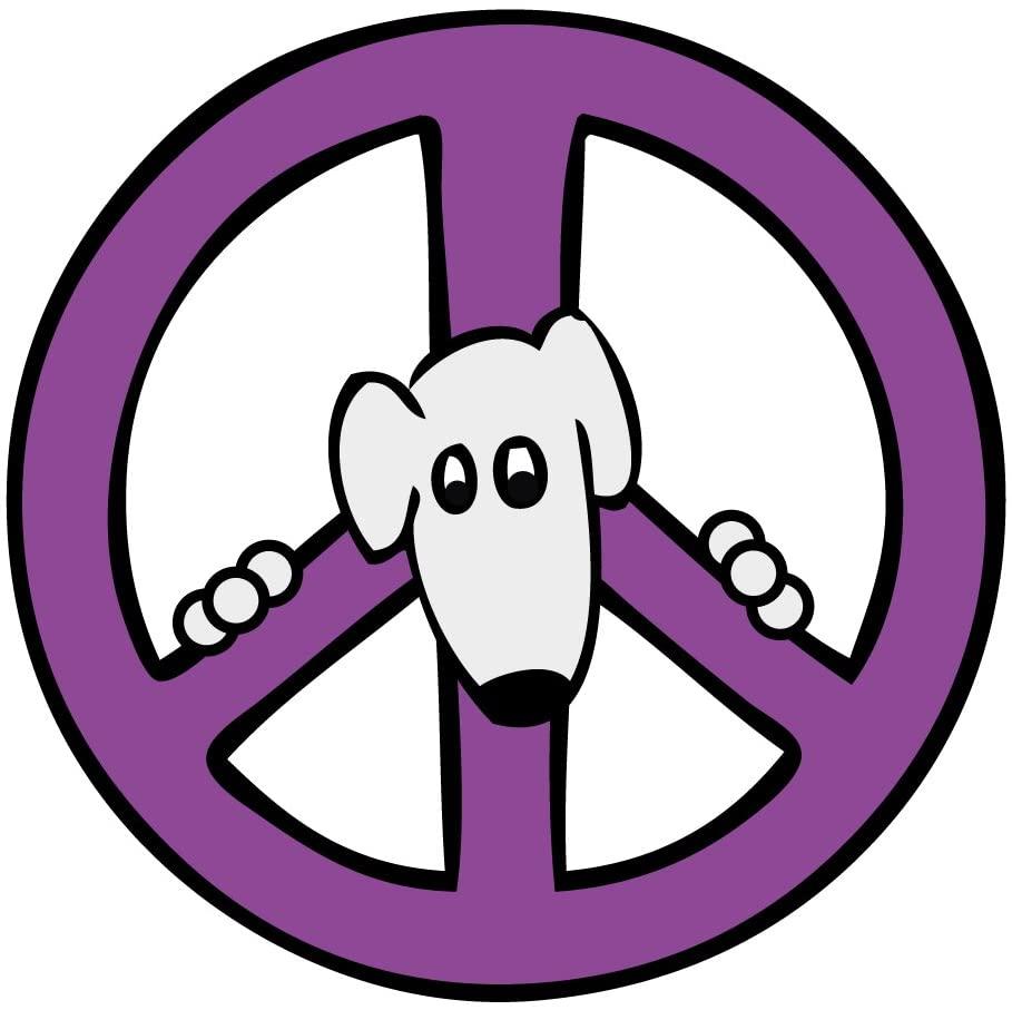 Imagine This Circle Magnet, Peace Sign Dog, Purple