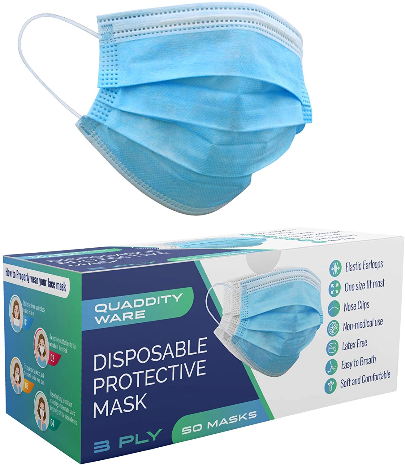 3-Layer Disposable Protective Face Masks with Nose Clip and Ear Loops (50)