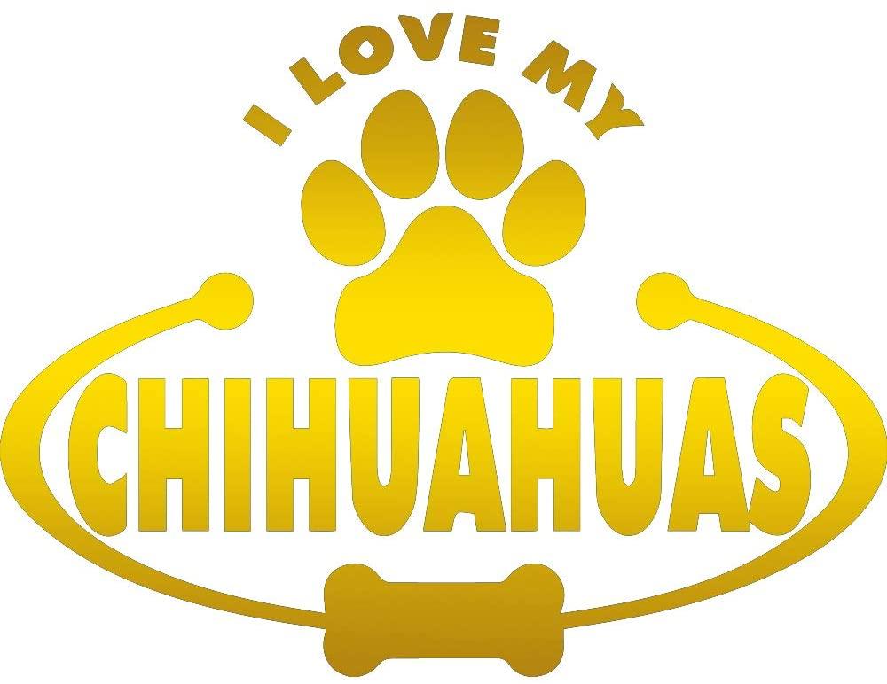 ANGDEST Chihuahuas PAW Bone I Love My (Metallic Gold) (Set of 2) Premium Waterproof Vinyl Decal Stickers for Laptop Phone Accessory Helmet Car Window Bumper Mug Tuber Cup Door Wall Decoration