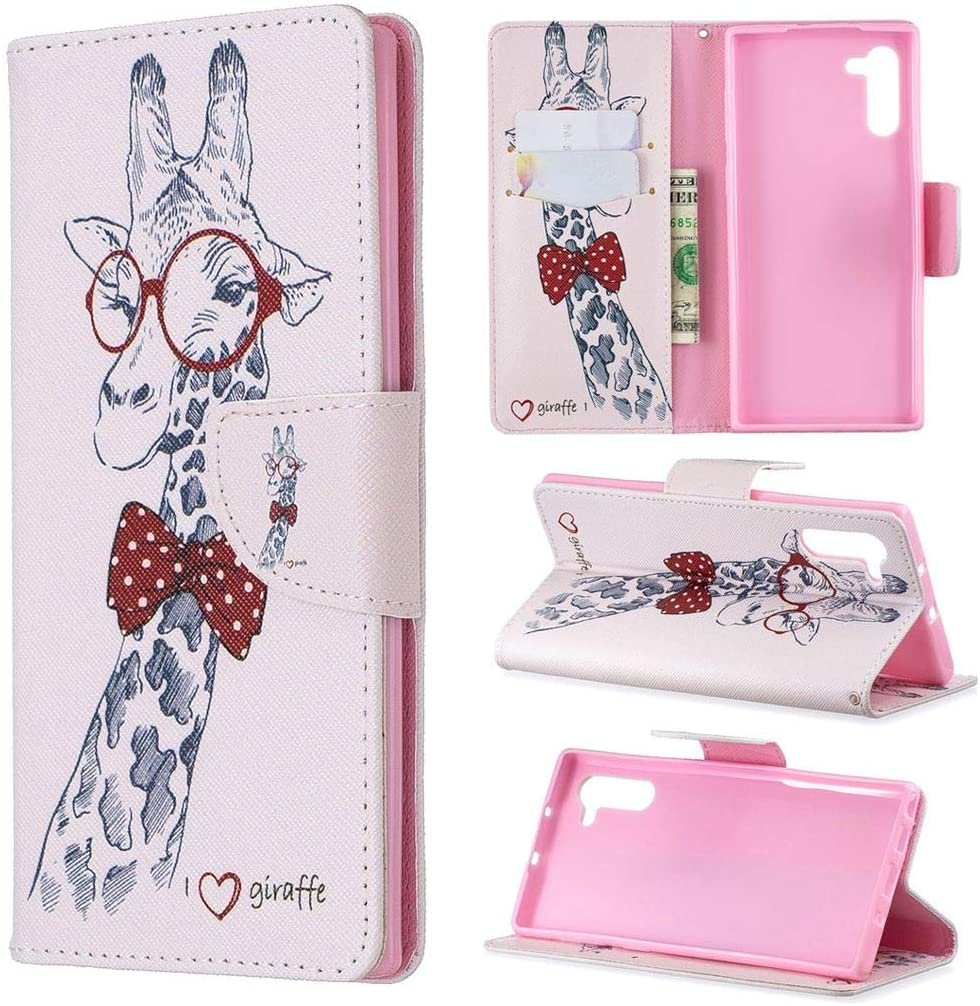 Galaxy Note 10 Case, Note10 5G Case, iYCK Premium PU Leather Flip Folio Magnetic Closure Protective Shell Wallet Case Cover for Samsung Galaxy Note 10 6.3inch with Kickstand Stand - Giraffe