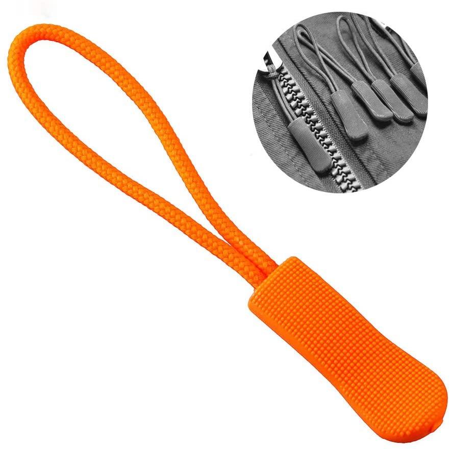 Zipper Pulls, 10/20pcs Strong Nylon Cord Zipper Pulls Fits/Zipper Fixer with Non-Slip Gripper for Backpacks, Tents, Traveling Cases (Orange, 20PCS)