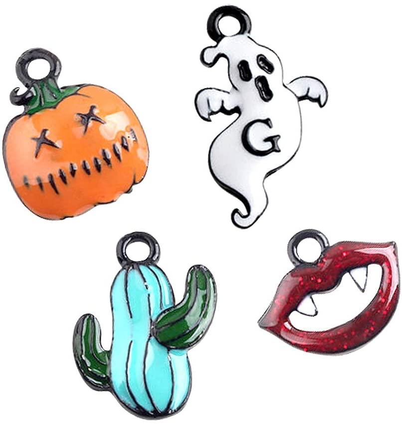 M271-E 8pcs New Tiny Halloween Cactus Blood Lip Pumpkin Ghost Bracelet Charms Pendants Wholesale