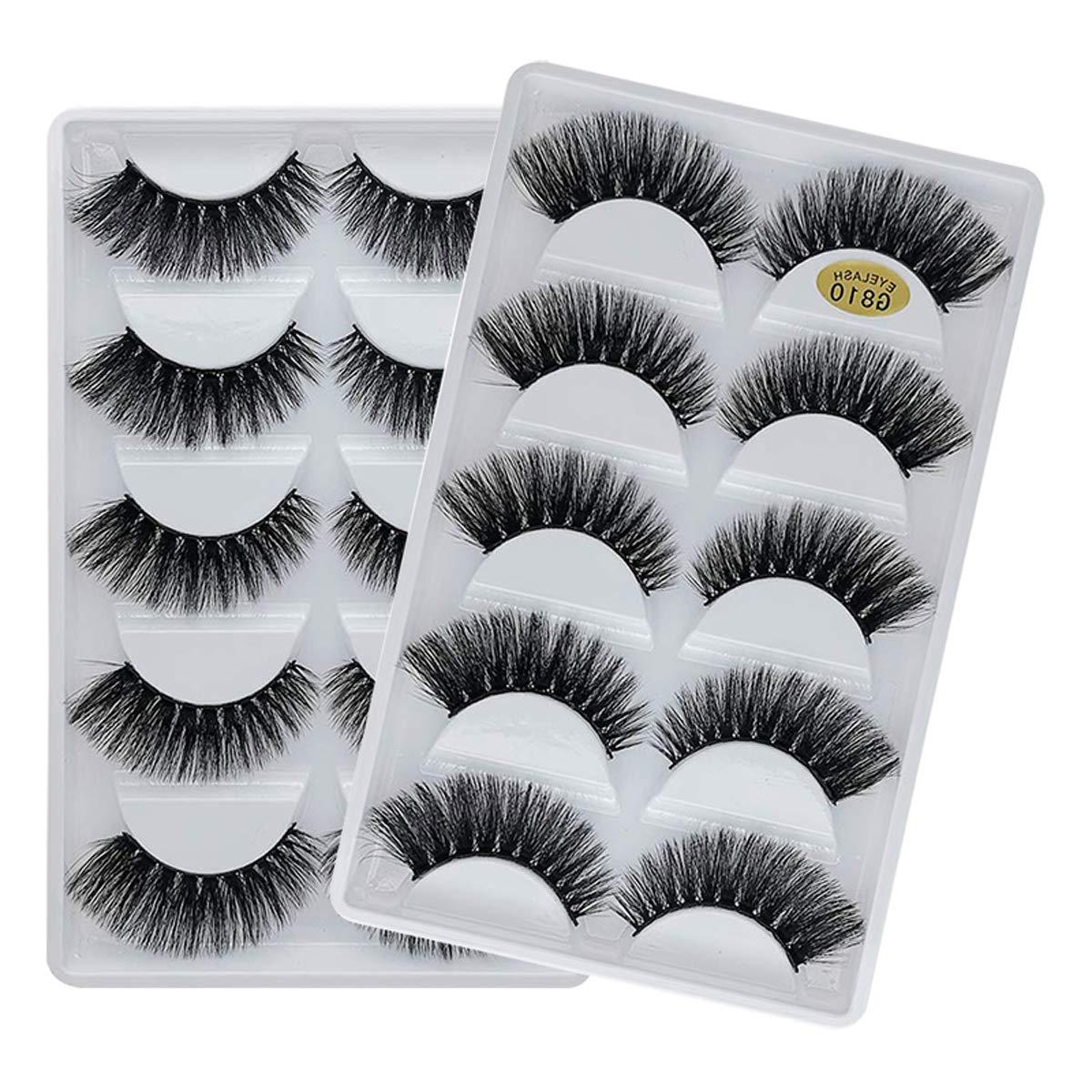 Vayator 10 Pairs/Set 3D Mink Lashes Natural False Eyelashes Dramatic Volume Fake Lashes Makeup Eyelash Extension Silk Eyelashes (G810)