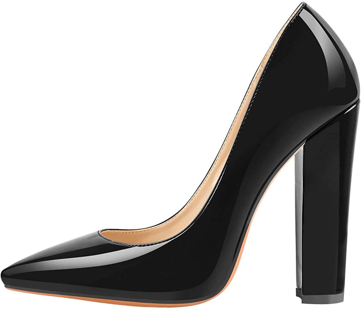 Richealnana Women's Pointed Toe Block Heel Pumps
