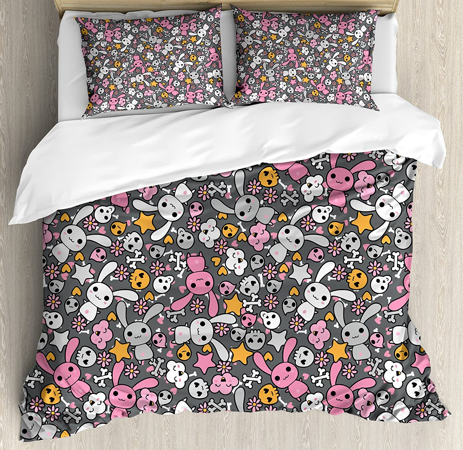 Ambesonne Nursery Duvet Cover Set, Kawaii Bunnies and Clouds Heart Eyed Skulls Japanese Anime Design Print, Decorative 3 Piece Bedding Set with 2 Pillow Shams, Queen Size, Grey Pink