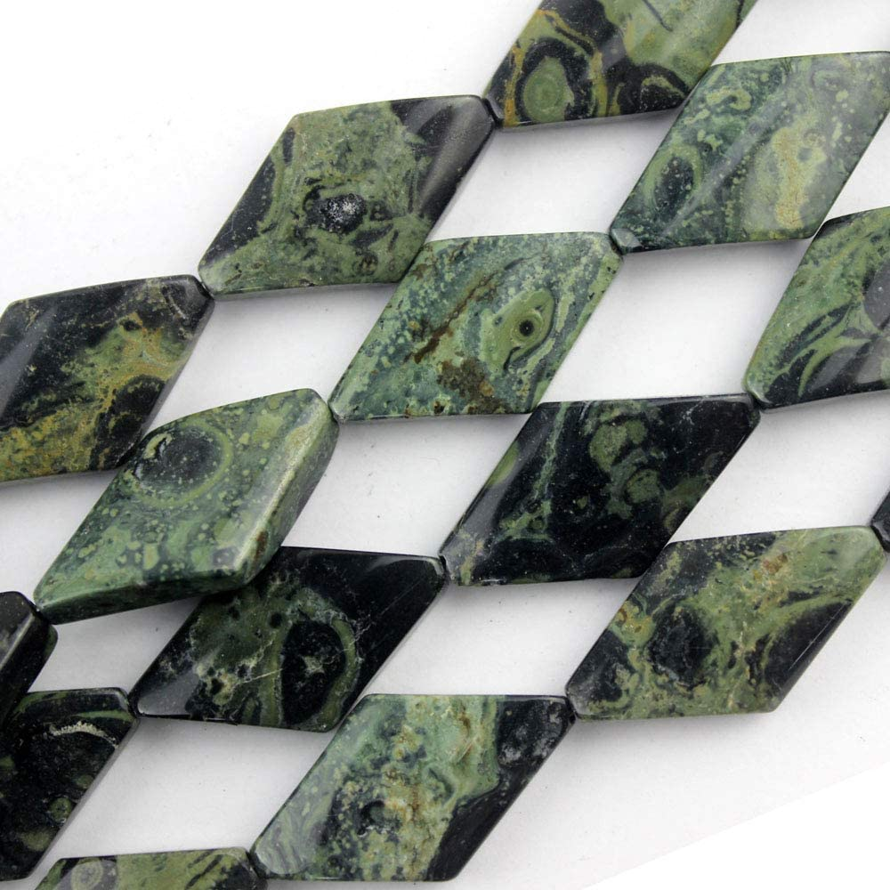 Natural Kambaba Jasper Semi Precious Gemstone Twisted Rhombus 15x15mm Green Stone Beads for Jewelry Making 15 Inches(14pcs)