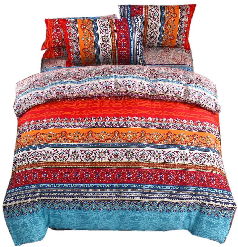 Bohemian Duvet Cover,Lightweight Microfiber Boho Queen Retro Bedding Set,3 Pieces Navy White Orange Modern Geo Aztec Crown Printing with Zipper Closure,Hotel Quality and Easy Care(Queen,Boho)
