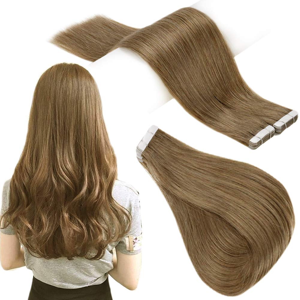 RUNATURE Glue on Hair Extensions Human Hair 18inches Color 8 Cinnamon Brown 100gram 40 Pieces Real Human Hair Tape Hair Extension Tape In Remy Natural Hair Extensions Tape Extensions Human Hair