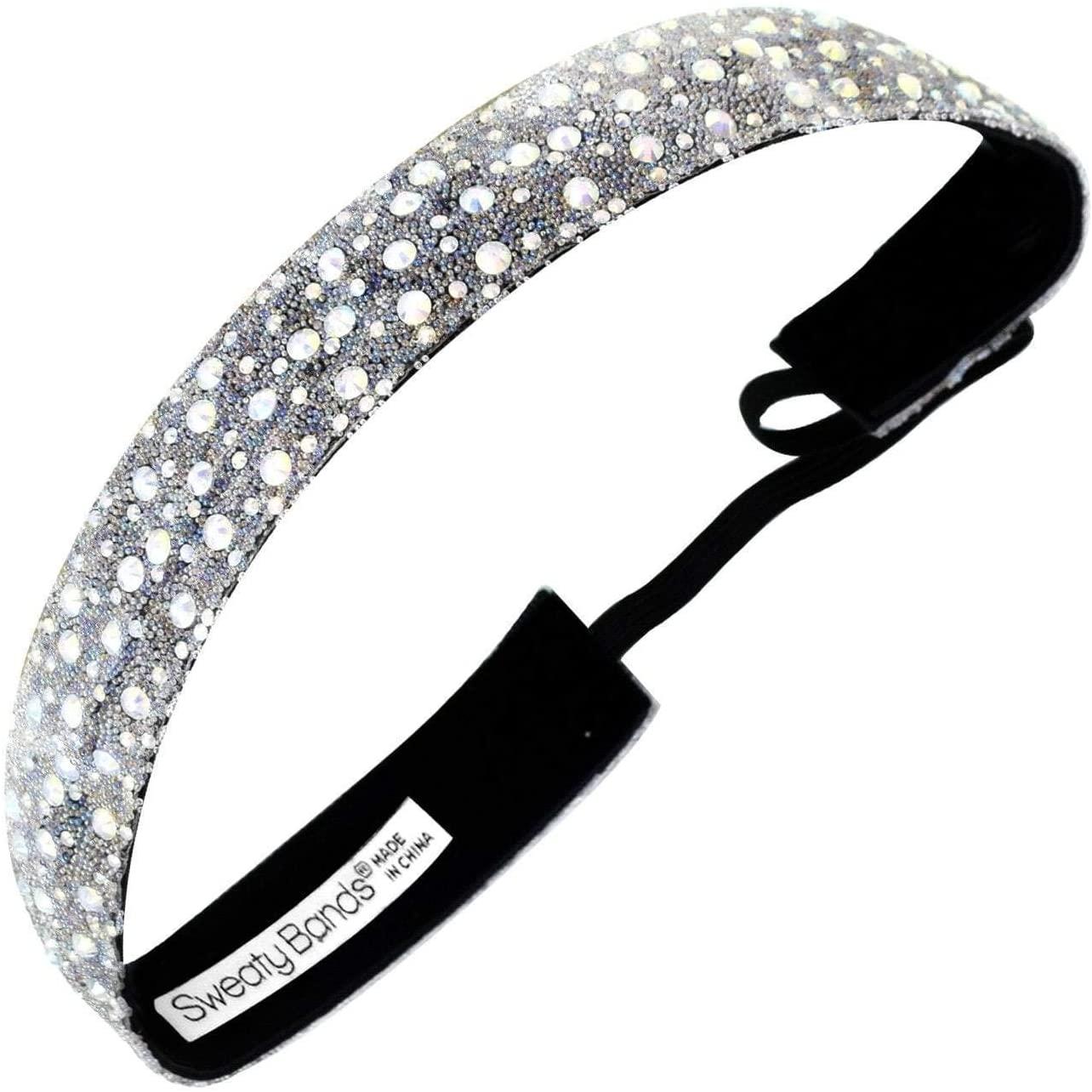 Sweaty Bands Womens Girls Headband - Non-Slip, Velvet-Lined Sparkly Hairband - Bling It Date Night Iridescent 7/8-Inch