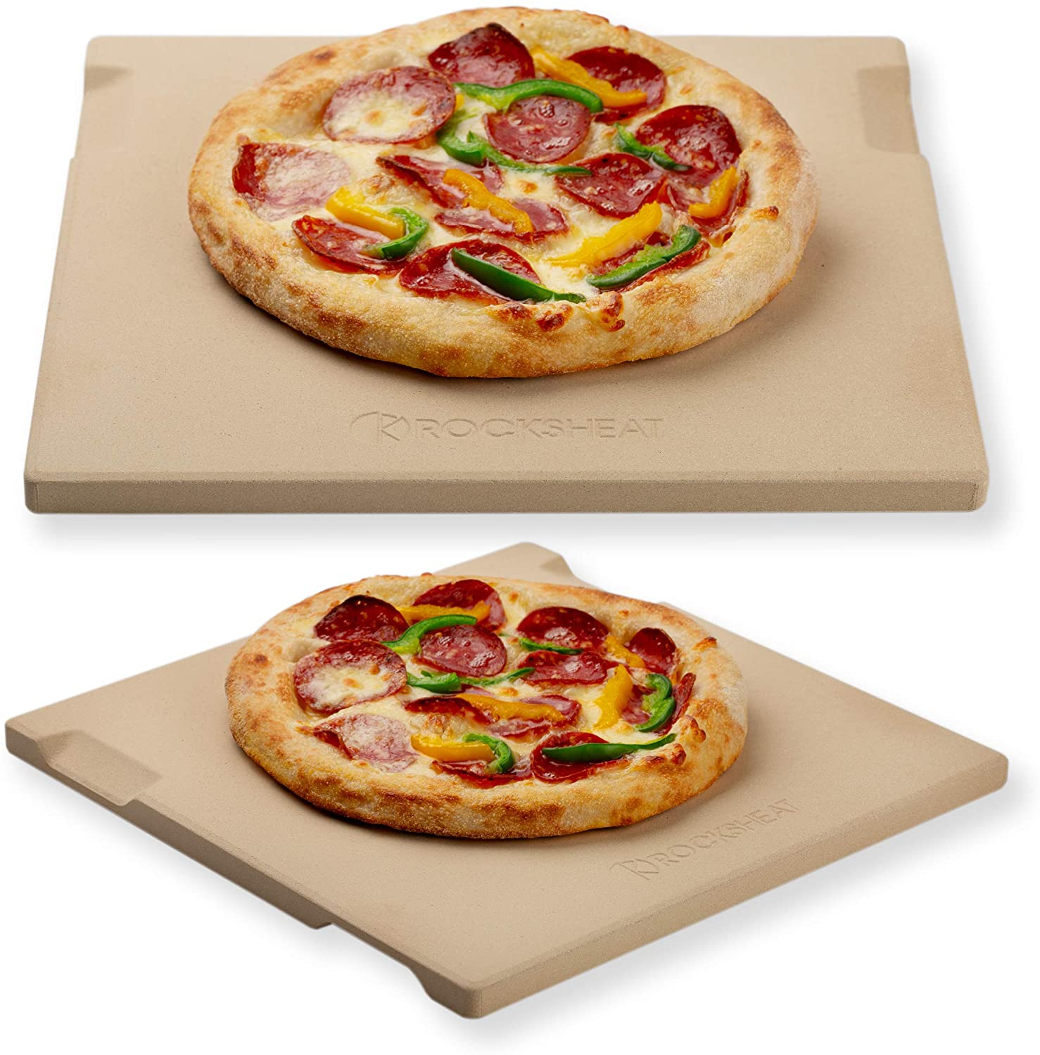 Pizza Stone Baking & Grilling Stone, Perfect for Oven, BBQ and Grill. Innovative Double - faced Built - in 4 Handles Design (12