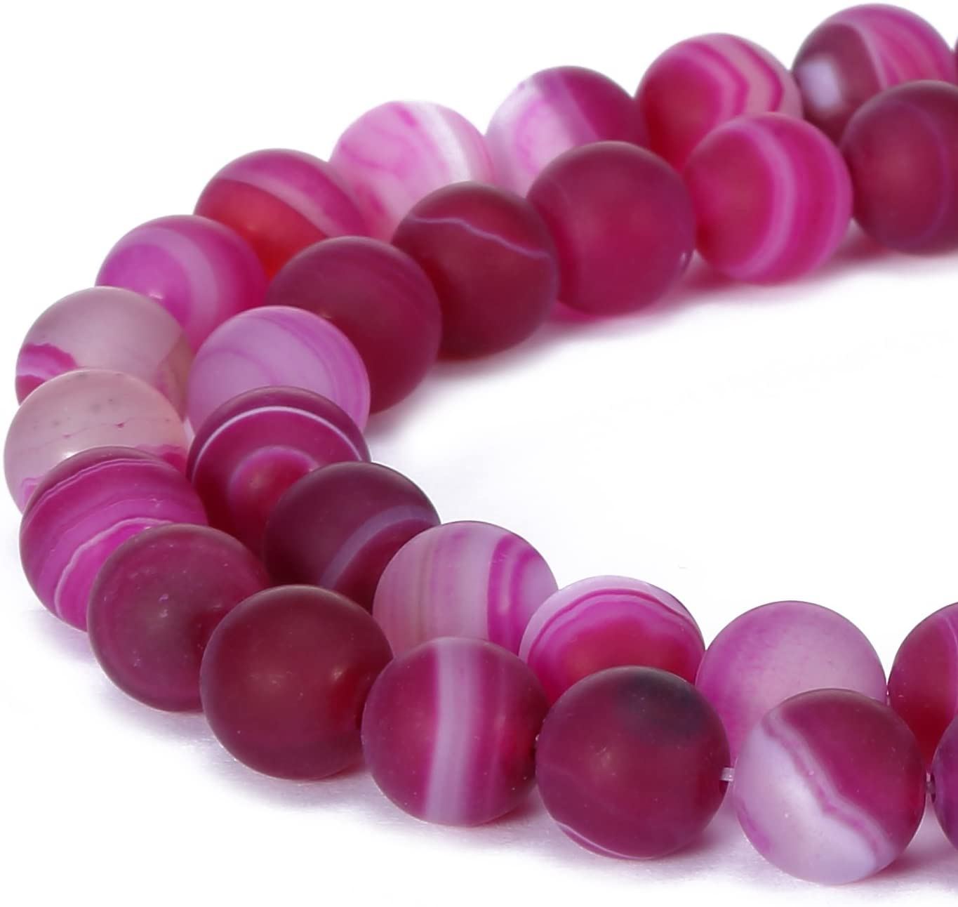 BRCbeads Stripe Agate Natural Gemstone Loose Beads 8mm Matte Round Crystal Energy Stone Healing Power for Jewelry Making- Fushia