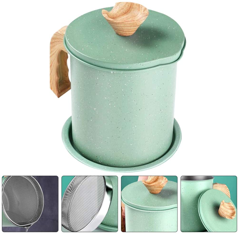 Cabilock Bacon Grease Container With Strainer For Cooking Oil and Drippings Stainless Steel Grease Keeper