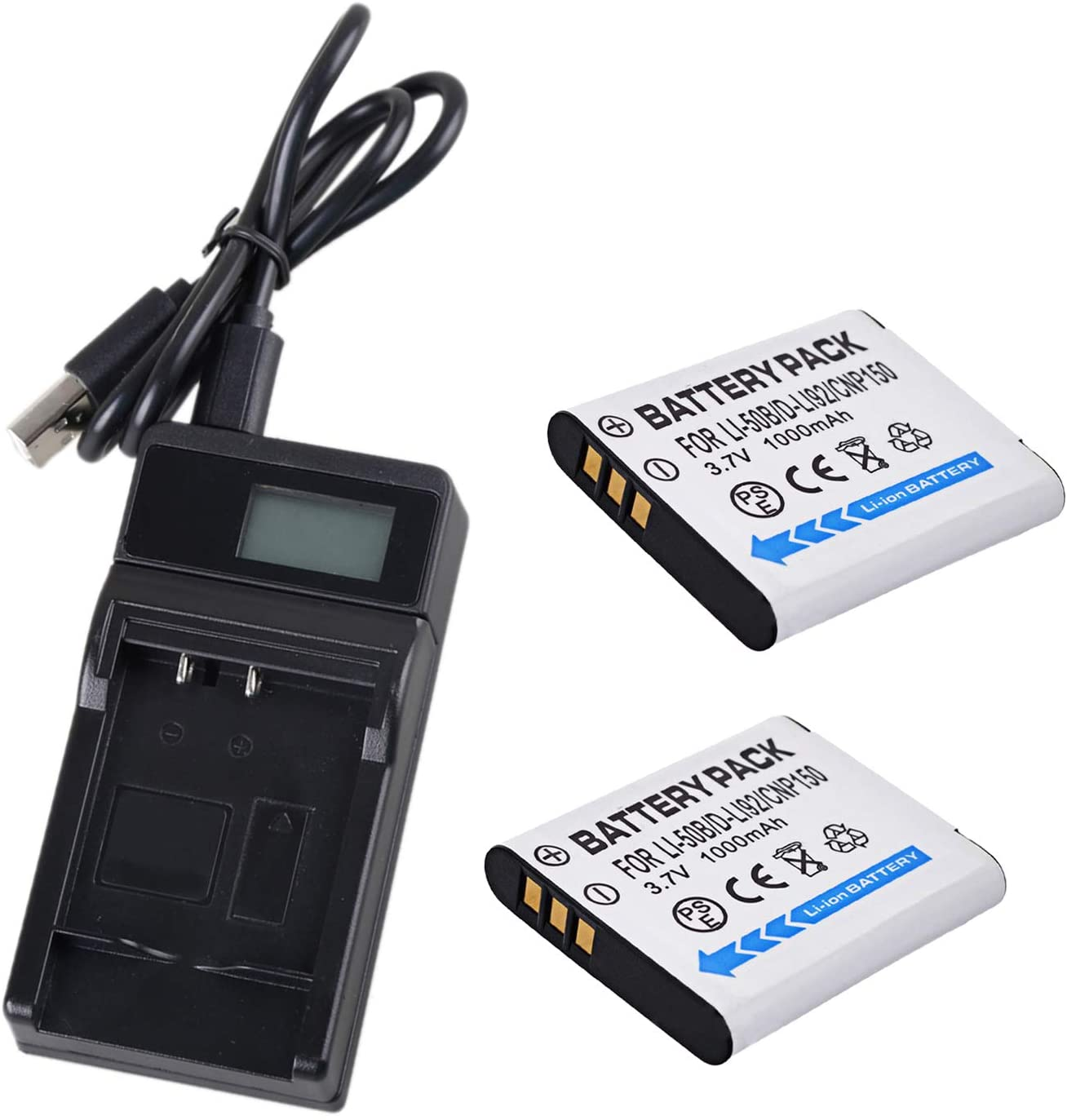 2 Battery and LCD Micro USB Battery Charger for Olympus Stylus Tough 6000, 6010, 6020 Digital Camera
