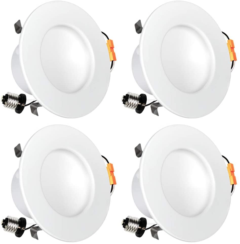 Luxrite 4 Inch Indirect LED Recessed Light, 10W (60W Equivalent), 2700K Warm White, 650 Lumens, Damp Rated, Dimmable LED Downlight, ETL Listed, CRI 90, E26 Base (4 Pack)
