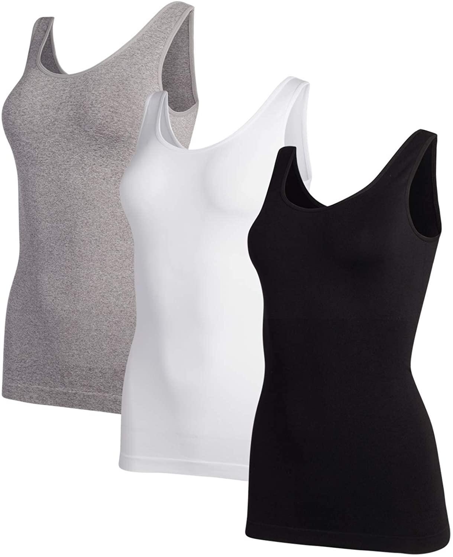 Marilyn Monroe Women's Shapewear - Seamless Cami Tank Top T-Shirt (3 Pack)