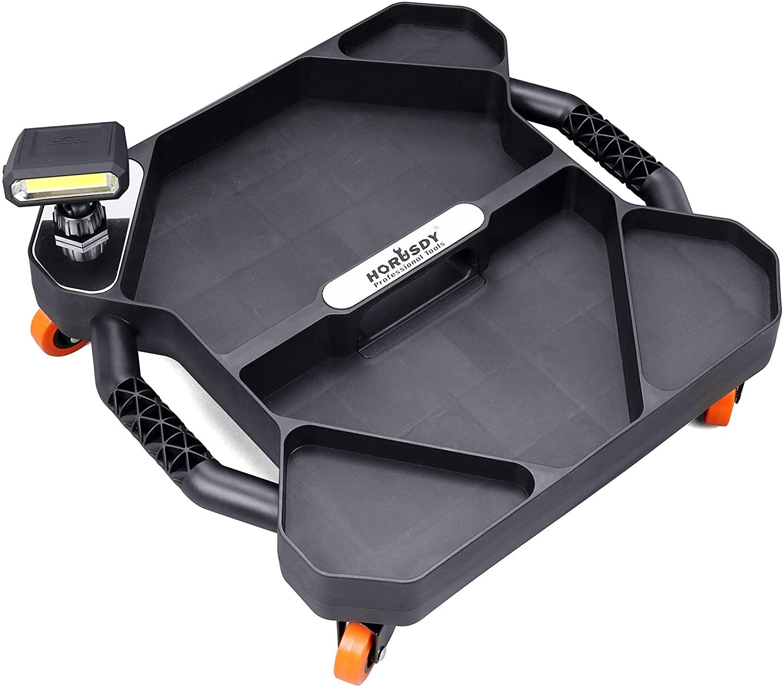 HORUSDY Car Creeper Tool Tray, Garage Tools, Magnetic LED Rotating Work Light, Professional Automotive Creeper