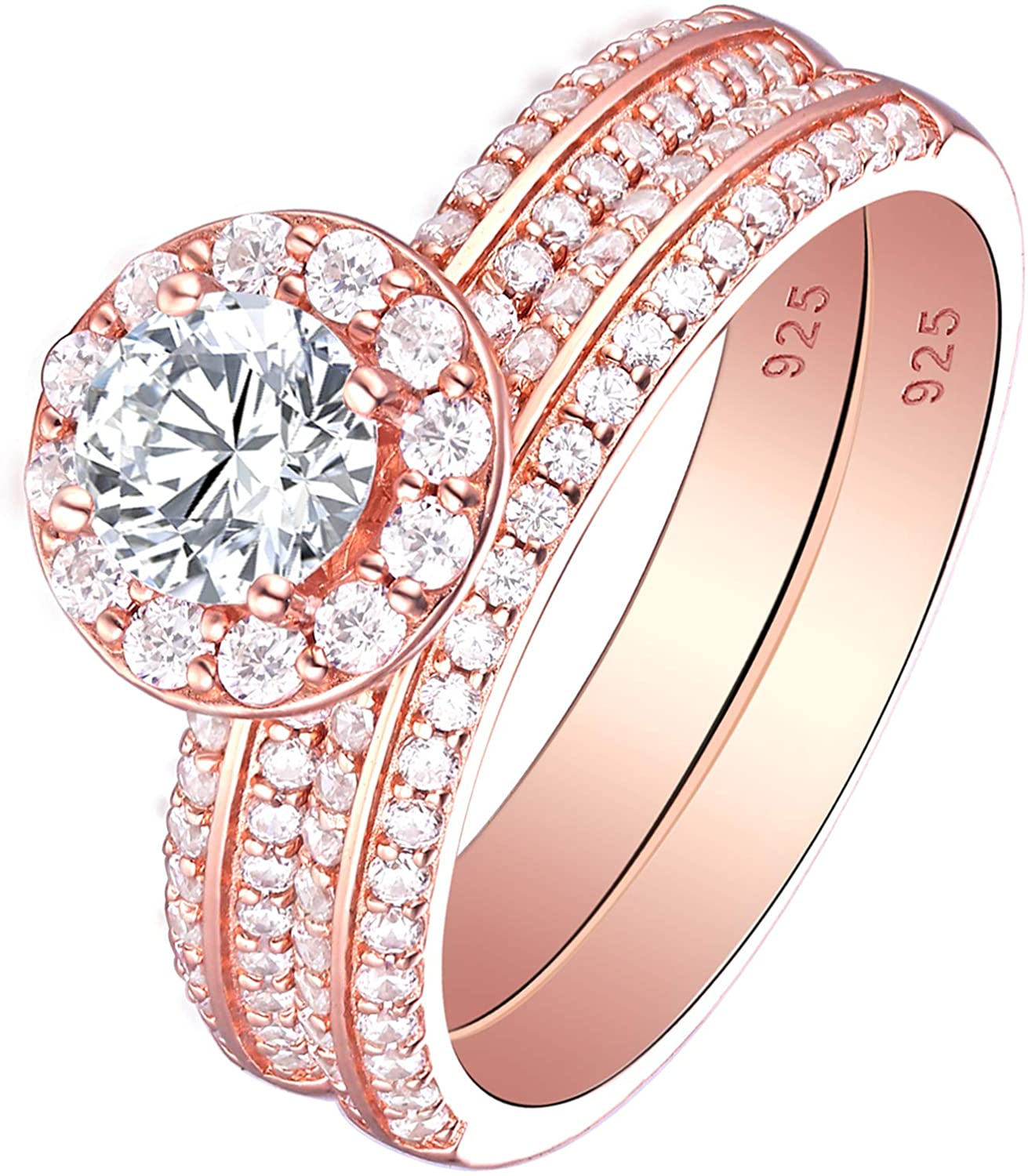 SHELOVES 18K Rose Gold Floral Wedding Rings Set for Women Halo Round Cut Cz Sterling Silver Sz 5-10