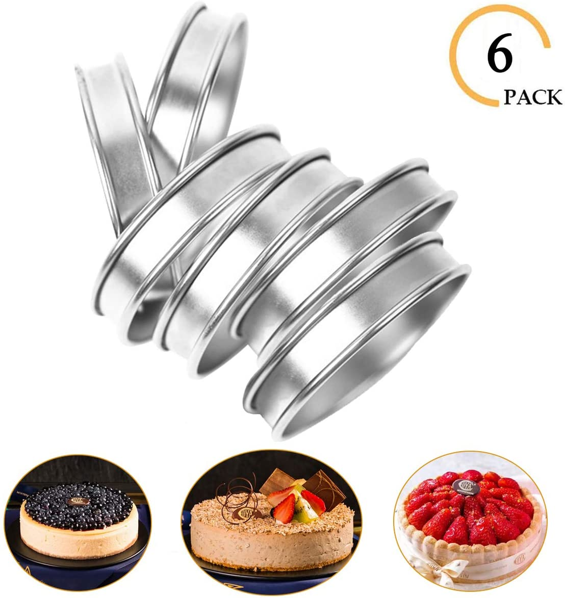 6 Pieces Muffin Tart Rings, Double Rolled Crumpet Bread Rings Professional Stainless Steel Cake Muffin Mold Rings Metal Round Ring Mold for Home Food Making Tool, Cooking (3.15 Inch)