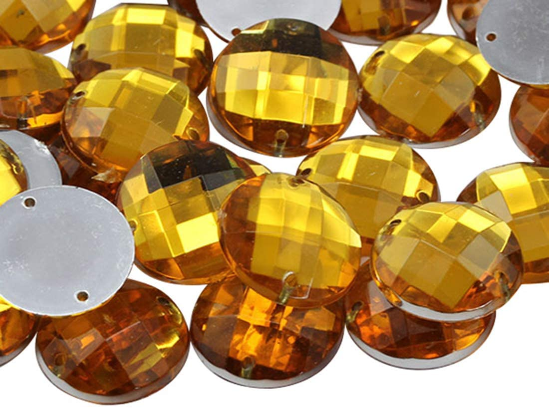 Allstarco 12mm Gold Topaz CH16 Flat Back Sew On Round Beads Acrylic Rhinestones Sewing Plastic Gems with Holes for Jewelry, Clothes, Garment Embelishments, Shoes, Cosplays, Crafts 60 Pieces