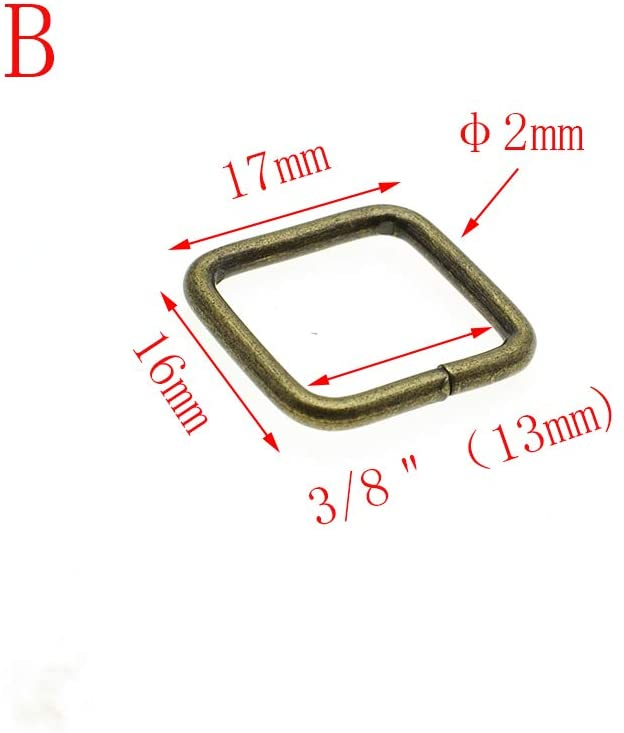 100pcs Metal Wire Formed Rectangle Ring Belt Loop Bra Buckle Package Accessories (Antique Brass, 1/2''(12mm))