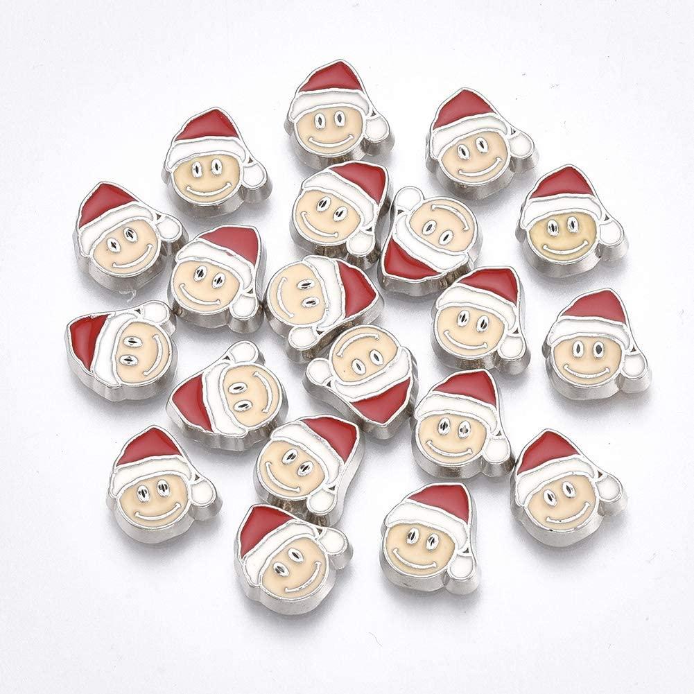 LiQunSweet 20 Pcs Alloy Enamel Flatback Slime Charming Cabochons Santa Claus Father Christmas for Scrapbooking Embellishments - 10x9x2mm