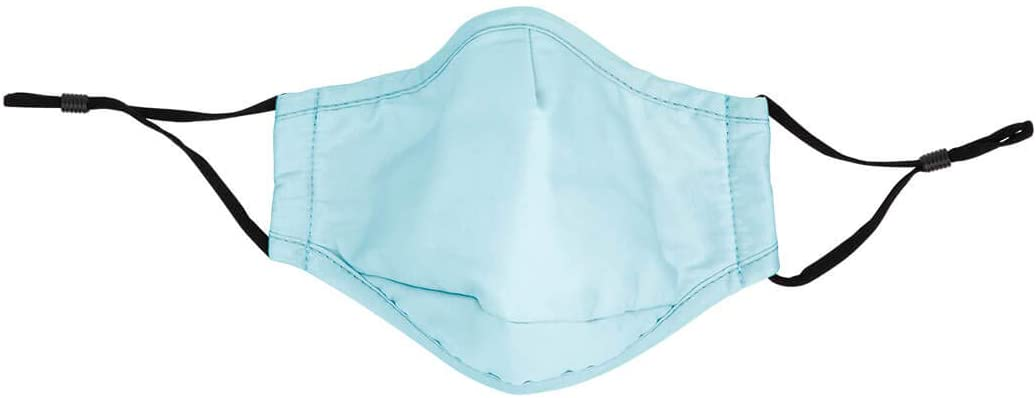 Koyal Wholesale Face Mask Reusable 100% Cotton Masks with 4 x PM 2.5 Carbon Filter 5 Layer Inserts, Washable Adult Safety Breathable Face Mask with Adjustable Earloops (Standard, Light Blue)