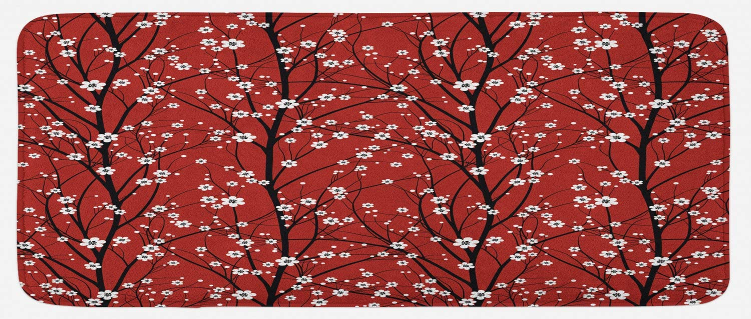 Lunarable Floral Kitchen Mat, Cherry Blossom Tree Branches Beauty Japanese Traditional Folk Eastern Petals, Plush Decorative Kitchen Mat with Non Slip Backing, 47