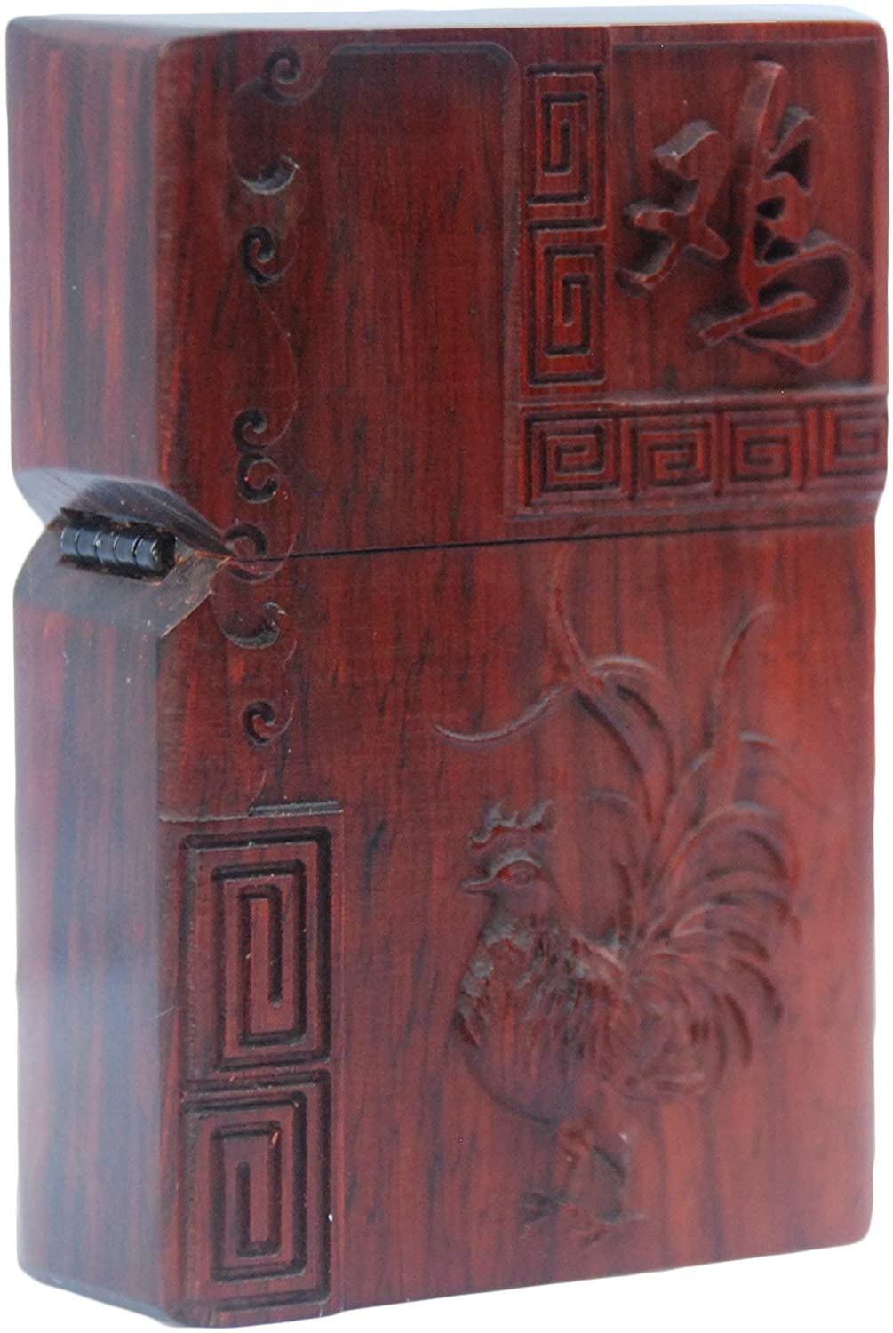 Natural Huanghuali Rosewood Carving Lighter Shell Box For Zippo Module (Zodiac Rooster)