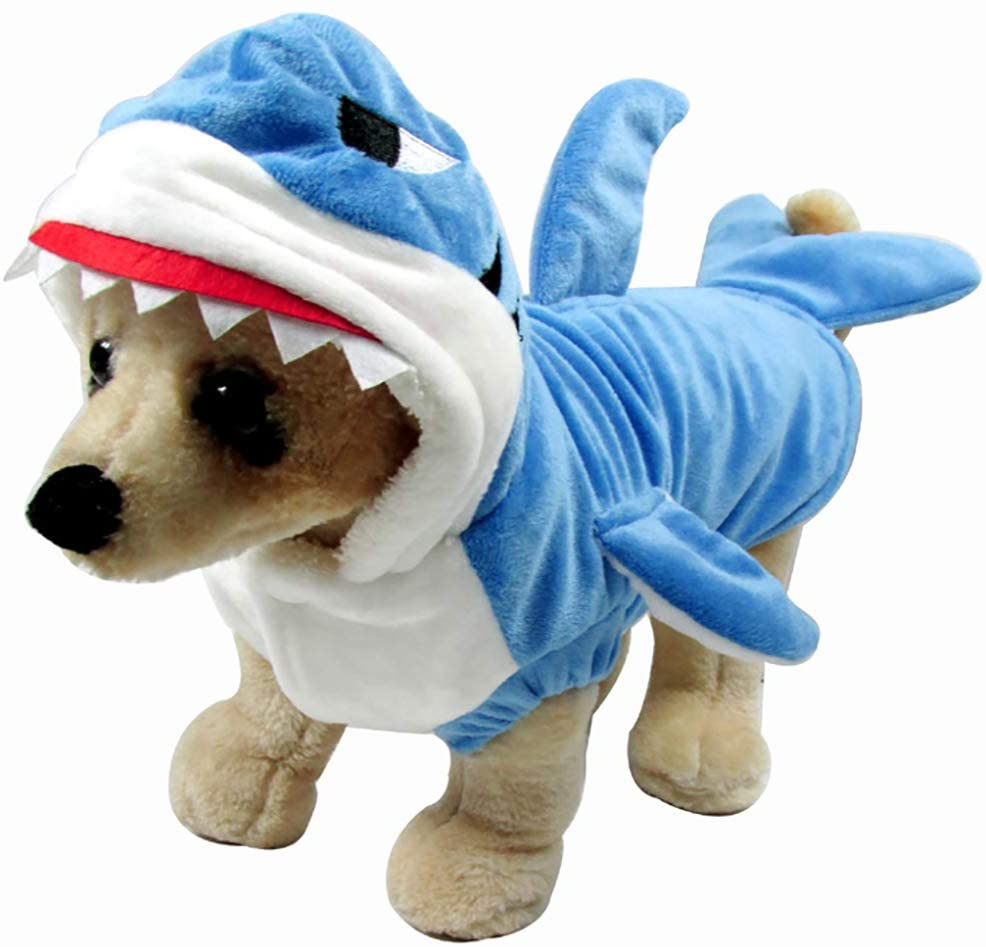 ChezAbbey Pet Dog Shark Costume Halloween Christmas Winter Dog Clothes Dog Hoodie Adorable Pet Coat for Small Medium Dogs and Cats