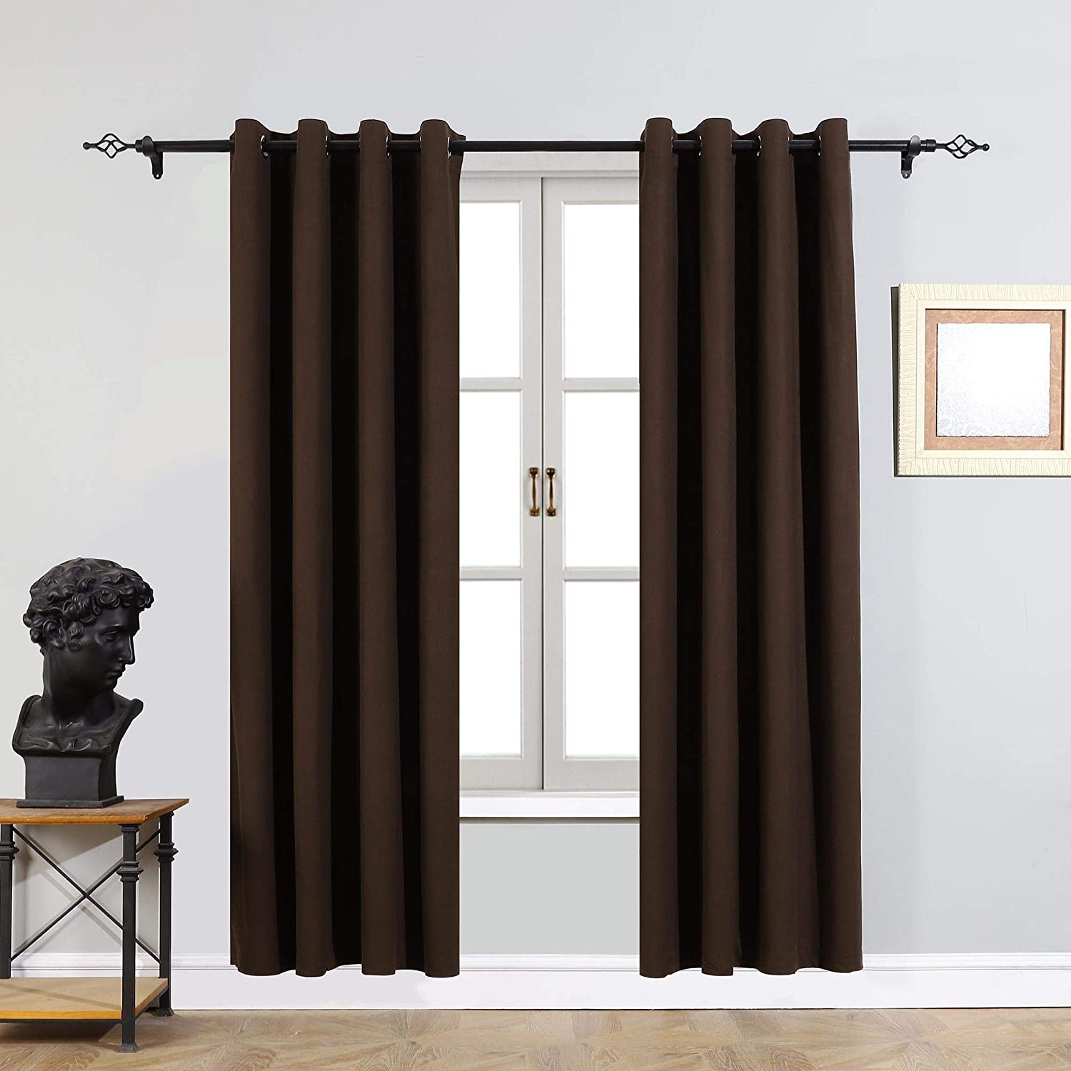 Cherhoo Soft Velvet Curtains,Grommet Top Room Darkening Curtains Window Treatment Drapes for Bedroom and Living Room,Set of 2 Blackout Curtain Panels(Taupe,W52 × L84 Inch)