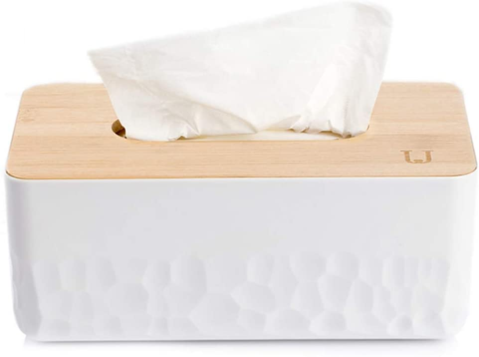 AODDING Bamboo Facial Tissue Box Cover, Natural Bamboo Wood Traditional Process Reliable Tissue Box, Hard Reliable, for Standard Tissue Paper and Kleenex, Dining Room, Kitchen, Home Decor (Large)