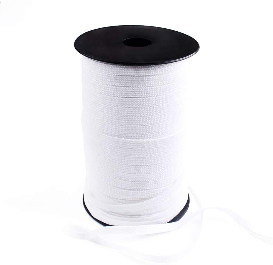 1/4''Inch 100 Yards Spandex Elastic Bands for Sewing White Elastic Cord Rope String for DIY Masks Heavy Stretch High Elasticity Knit Strap Spool for Making Masks DIY Sewing Crafts (White)